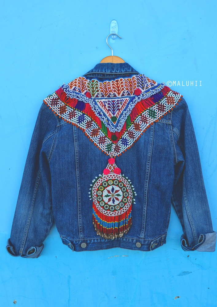 Maluhii custom vintage embellished denim jacket boho