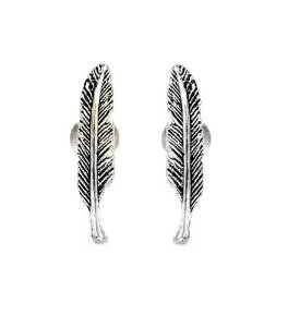 Amazon.com: .925 sterling silver feather stud earrings 15mm long small: jewelry