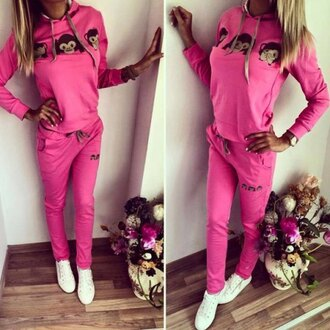 jumpsuit cool hot pink sportswear cute hooded emoji printed pullover hoodie and elastic waist pants twinset for women fall outfits comfy trendy pullover jumper pants rosegal dec rosegal-dec monkey