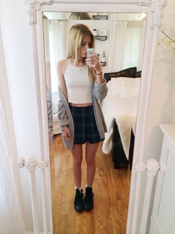 skirt clothes top shoes cardigan