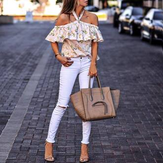 top floral top tumblr off the shoulder off the shoulder top floral ruffle bag tote bag denim jeans white jeans skinny jeans ripped jeans sandals sandal heels high heel sandals shoes