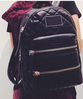 bag,marc by marc jacobs,quilted,backpack,black,quilted bag