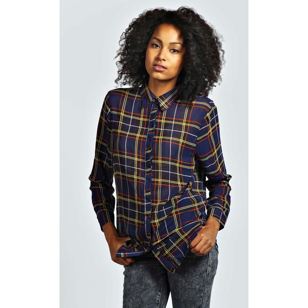 Boohoo Kelly Tartan Check Oversized Chiffon Shirt - Polyvore