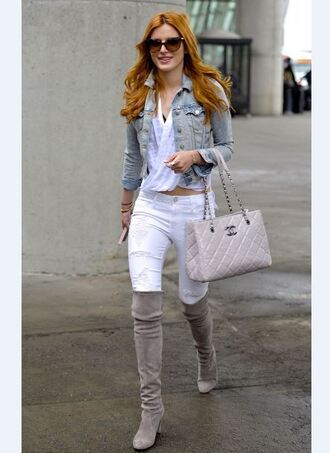 jeans denim white jeans ripped jeans boots knee high boots jacket bella thorne shoes blouse