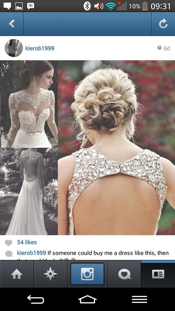 dress white dress gold sparkly dress backless prom dress prom dress long prom dress