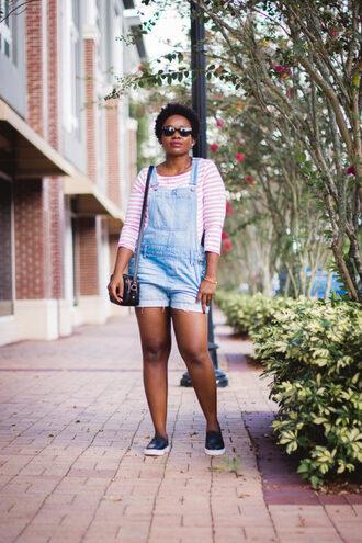 pinksole blogger sunglasses jewels top bag denim overalls overalls shoulder bag