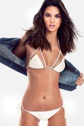 swimwear,bikini top,bikini,bikini bottoms,white,two-piece,kendall jenner,editorial