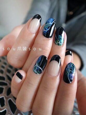 nail polish nail art marble negative space nail art dark nail polish glitter nail polish japanese