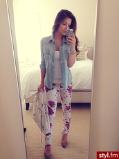 pants,jeans,floral,clothes,floral pants,denim shirt,jacket,bag