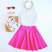 blouse,skirt,shoes,jewels,top,white,crop tops,accessories,style,sunglasses,wedges,necklace,skater skirt,girly,watch,gold,hot,shirt,lace top,summer top,pink,fashion,pinterest,tank top,dress,white top,pink skirt,cute outfits