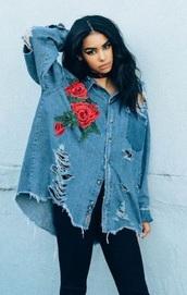 jacket,roses,jean jackets,denim jacket