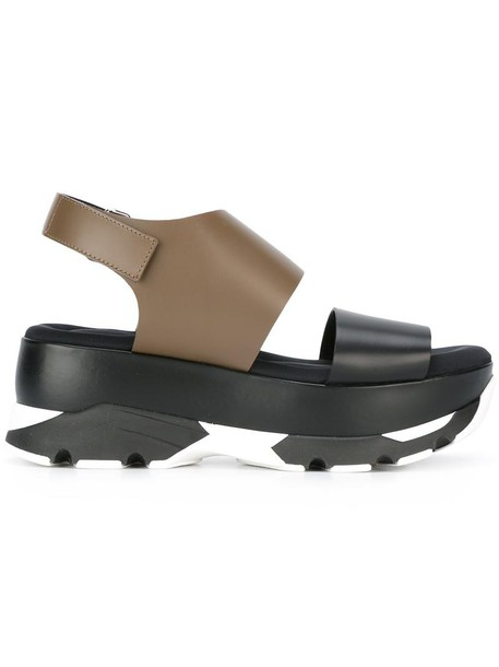 MARNI women sandals platform sandals leather black shoes