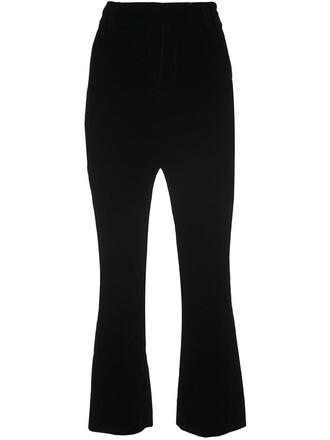 flare cropped women black pants
