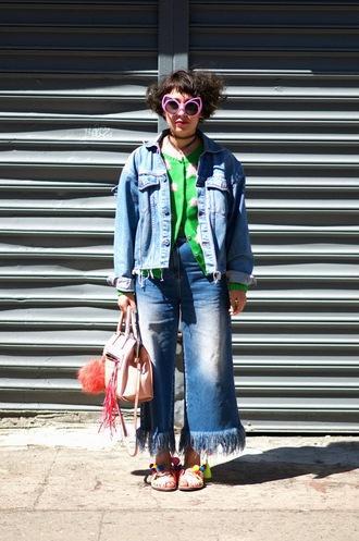 let's get flashy blogger sweater jeans shoes jacket sunglasses bag denim culottes denim pants pants frayed denim frayed jeans pink bag bag accessoires handbag denim jacket blue jacket pink sunglasses cardigan