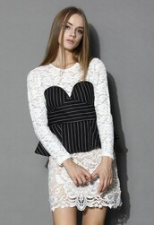 top,chicwish,sweet stripes peplum top,lace shoulder top,fashion and stylish