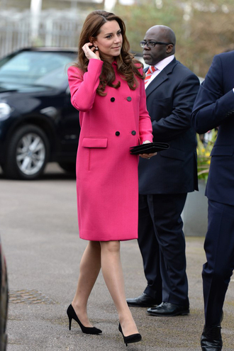 coat pink kate middleton pumps earrings shoes