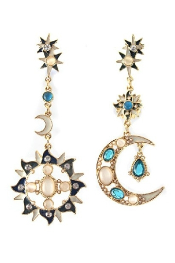 Sun and Moon Matching Long Earrings with jewels [FVBJ00163] - PersunMall.com