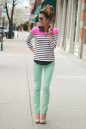 t-shirt,jeans,mint green jeans,bold color,cute shoes,pink and black,hair,sweater,blouse,navy striped pink block