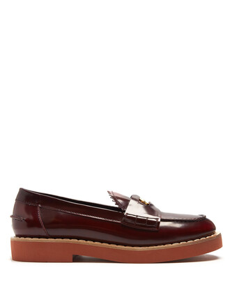 embellished loafers leather red shoes