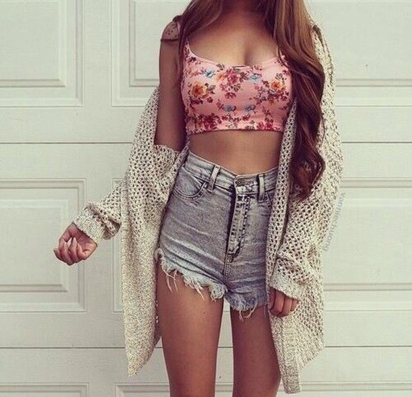 High waisted shorts long cardigan floral top