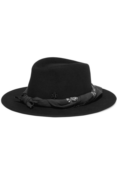 Maison Michel fedora cotton black hat