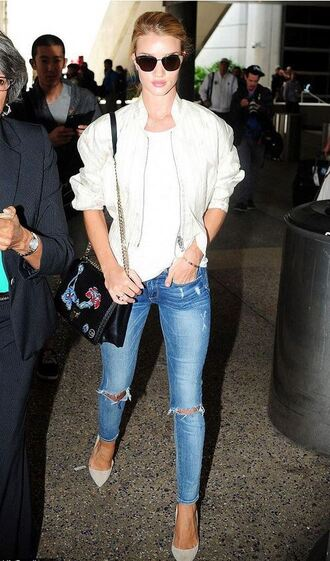 jacket jeans top rosie huntington-whiteley denim
