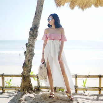 olivia lazuardy blogger sunglasses swimwear skirt bag shoes summer outfits off the shoulder top pink top birkenstocks sandals white skirt