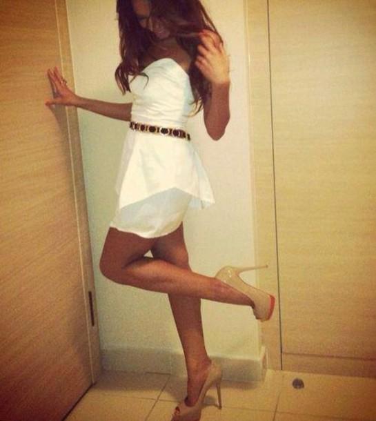 Dress White Dress Peplum Teens Heels Belt Wheretoget