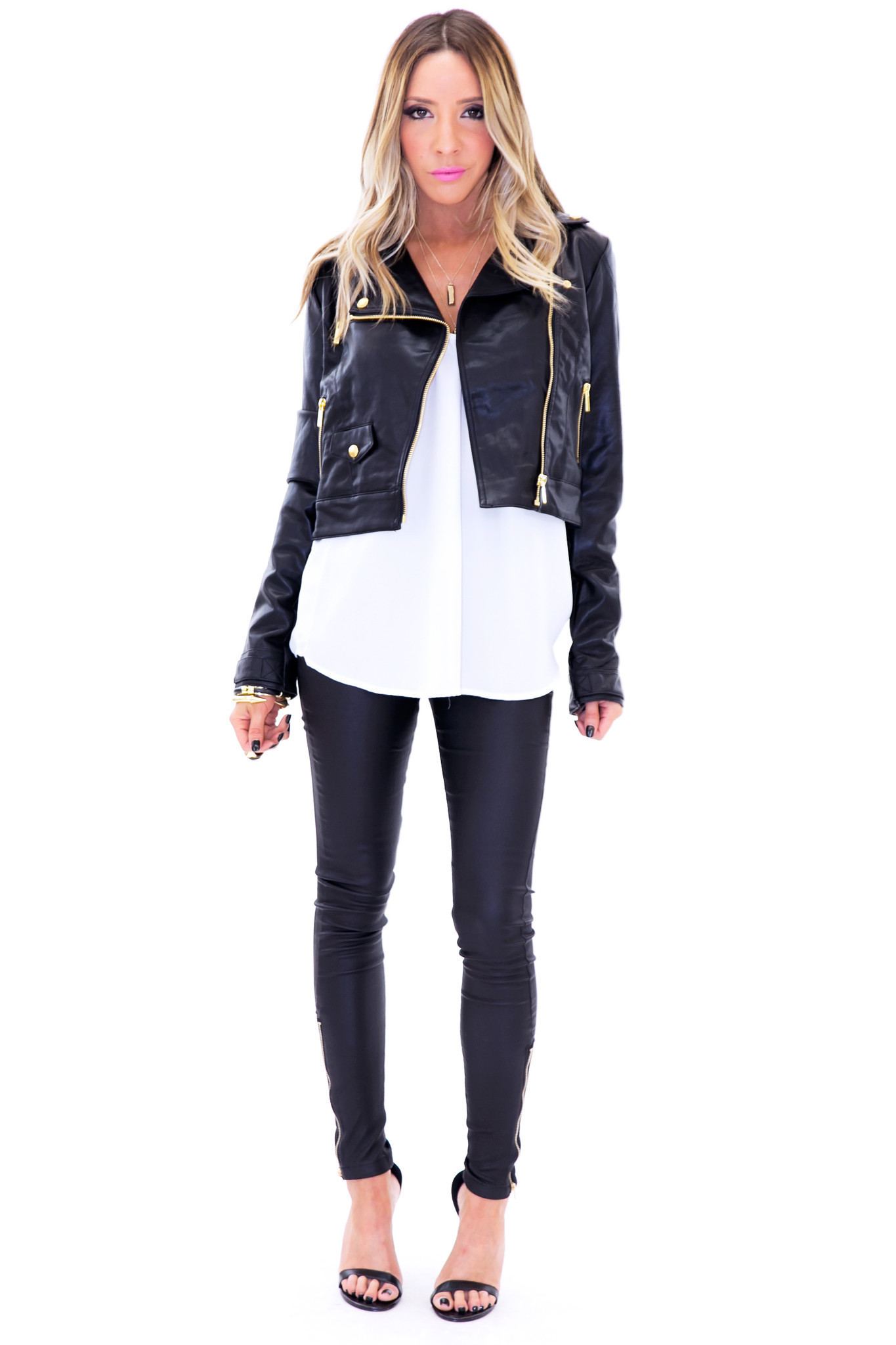 Jacobs moto faux leather jacket