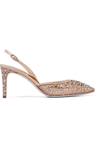embellished pumps lace leather gold blush shoes