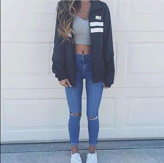 coat nike jeans ripped jeans cute jacket high waisted jeans crop black white men's windbreaker nike jacket vintage nike jacket stripes adidas jacket blue jeans blue blue jacket adidas vintage bomber jacket retro 90s style