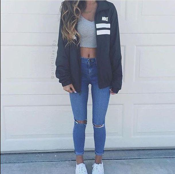 abcd3ecc572d coat nike jeans ripped jeans cute jacket high waisted jeans crop black  white men s windbreaker nike