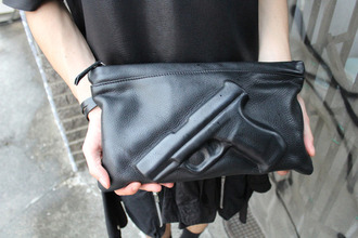 bag black leather purse fashion gun minimalist