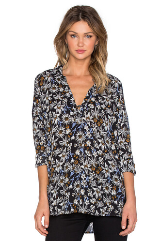 top long floral black