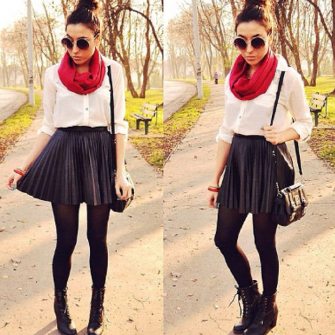 red scarf sunglasses combat boots purse skirt skater skirt white blouse scarf red