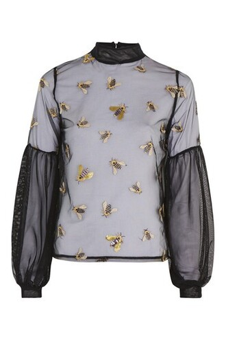 blouse mesh embellished bee black top