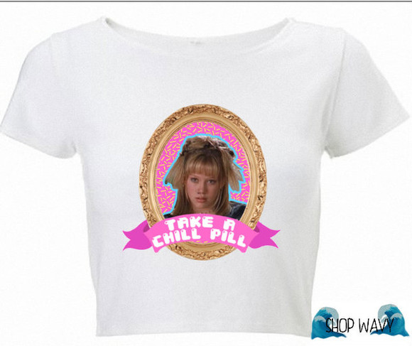 shirt white t-shirt graphic tee top white shirt lizzie mcguire chill pill take a chill pill chill graphic graphic top graphic shirt wavy white top white crop top crop hilary duff