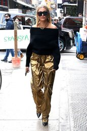 pants,gold,gold pants,hailey baldwin,model off-duty,streetstyle,fashion week,ny fashion week 2018,sweater,off the shoulder sweater,off the shoulder