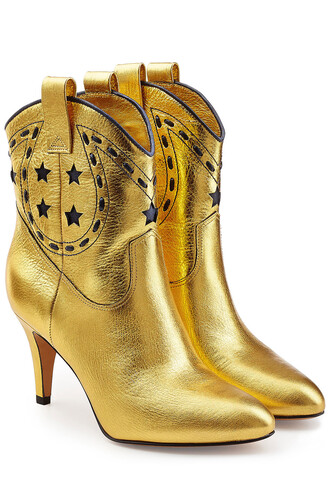 cowboy boots metallic boots leather gold shoes