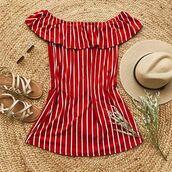 dress,red,stripes,dresses s,spring,summer,off the shoulder,off the shoulder dress,bellexo,cute outfits