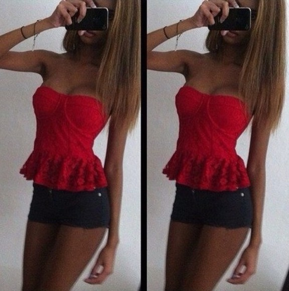 red shirt blouse short