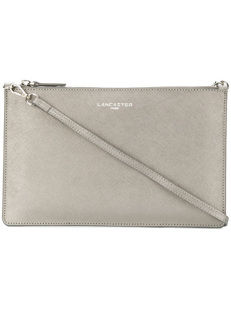 lancaster women bag clutch leather grey metallic
