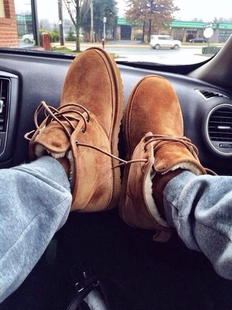 shoes ugg boots brown uggs lazy day cosy warm winter boots winter lace up boots boots booties joggers sweatpants car