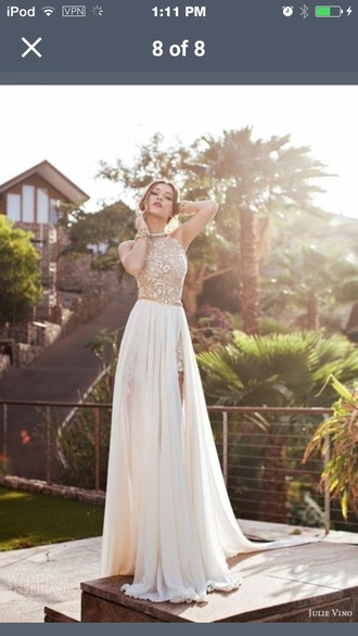 dress off-white prom gown high neck flowy dress