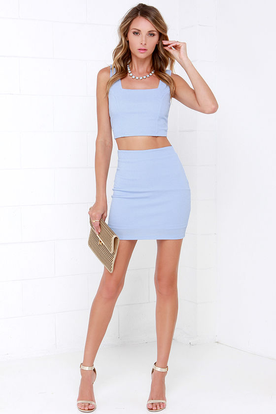 Almost Doesn't Count Periwinkle Bodycon Two-Piece Dress