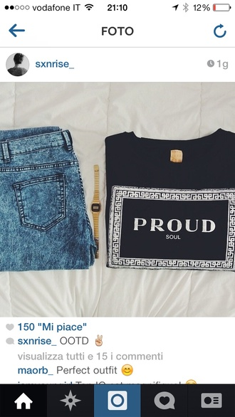 shirt fashion brand colorful t-shirt ootd proud outfit tumblr outfit jeans blue black