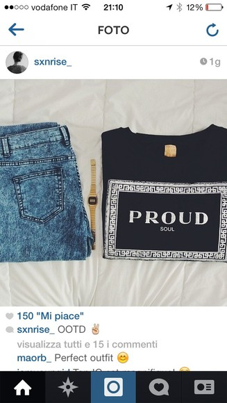 black fashion t-shirt shirt jeans brand color ootd proud outfit tumblr outfit blue