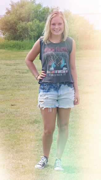acid wash blouse pink floyd rock denim shorts