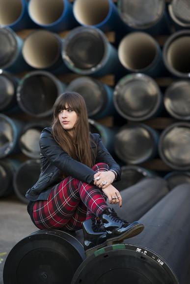 DrMartens andy sparkles blogger tartan leather jacket grunge