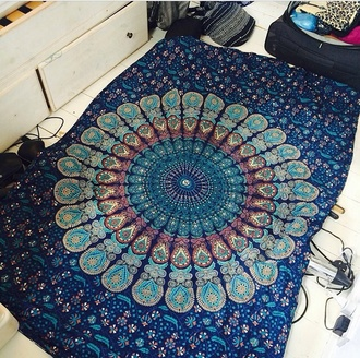 home accessory blue mandala cover green sheets indie boho mandala blue-green cover duvet duvet cases tapestry boho